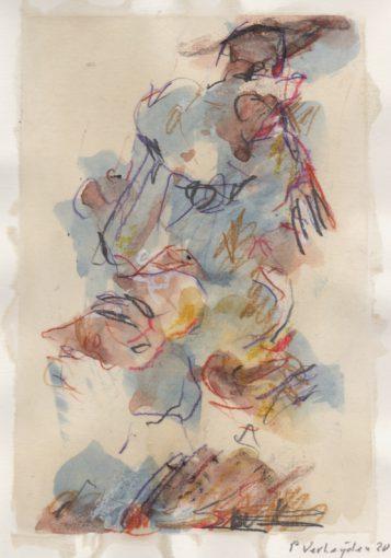 """tekening zonder titel"" <br />potlood+aquarel/papier 29,7x21 cm 2020"