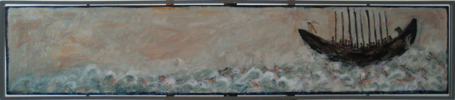 """Styx"" uit de serie: ""Ars Moriendi 2"" olie/paneel  44x205,5 cm. 2017"