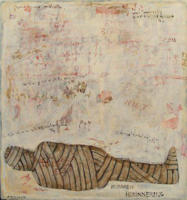 """""""Bevroren herinnering"""" uit de serie: """"Ars Moriendi 2"""" olie, oliekrijt en potlood / paneel 80x75 cm. 2018"""