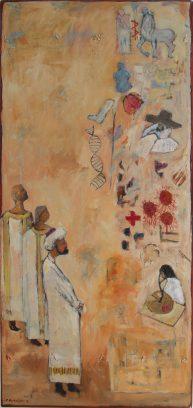 """""""De vooruitgang van de geneeskunde"""" 1 Uit de serie: """"De triomf van de geneeskunde"""" olie, oliekrijt, potlood en lak/ paneel en touw. 160x75 cm. 2019"""
