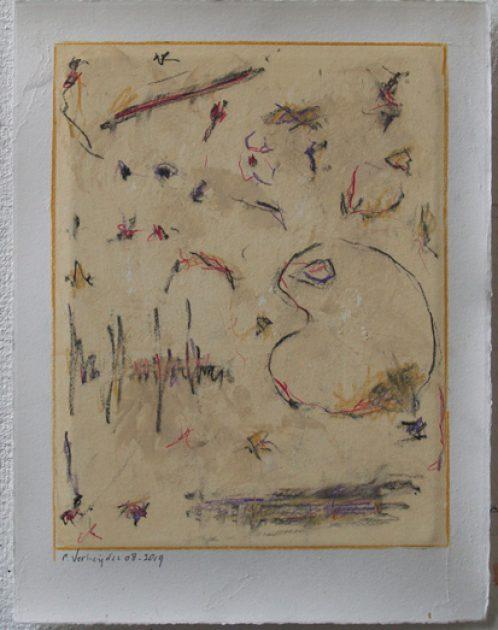 """""""Studie zonder titel 19.07""""<br />acryl, potlood, krijt/geschept papier 43x32,5 cm 2019<br />bij restaurant """"de cantharel"""" Venlo-Blerick."""