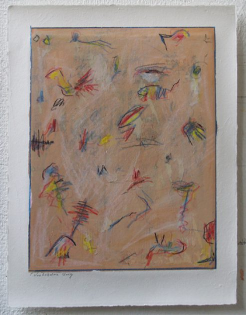 """""""Studie zonder titel 19.09""""<br />acryl, potlood, krijt/geschept papier 43x32,5 cm 2019<br />bij restaurant """"de cantharel"""" Venlo-Blerick."""