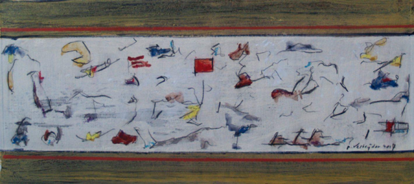 """Kaft bij het boek: """"Mijn leven met de Kunst""""<br />acryl/karton 22x50 cm. 2017"""