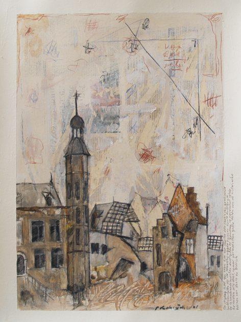 """Nachkriegszeit"" 04<br />acryl, olie, potlood en krijt/ geschept papier 67x50 cm. 2021"