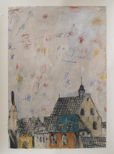"""Nachkriegszeit"" 05<br />acryl, olie, potlood en krijt/ geschept papier 67x50 cm. 2021"