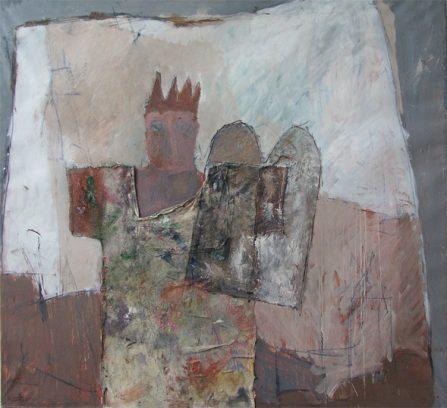 """""""Mardoek en de tafels van het lot""""<br />olie en collage/geprepareerd papier<br />135x146 cm. 1983"""