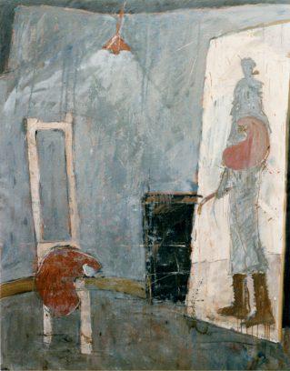 """""""Want na het schilderen komt het grote verdriet""""<br />olie/doek  160x125 cm.<br />1986 (Museum van Bommel van Dam)"""