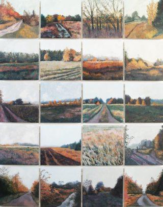 """Venlose heide, oktober 1972""<br />olie/20panelen 207,5x164,5 cm<br />2014"