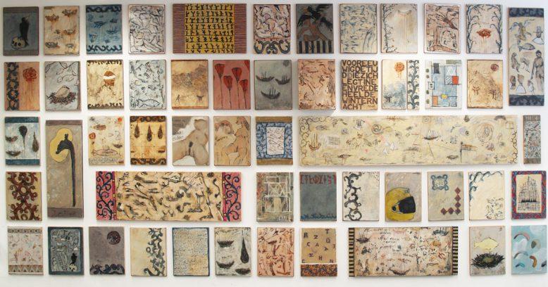 53 dagboek-schilderijen<br />olie/paneel diverse maten<br />2017