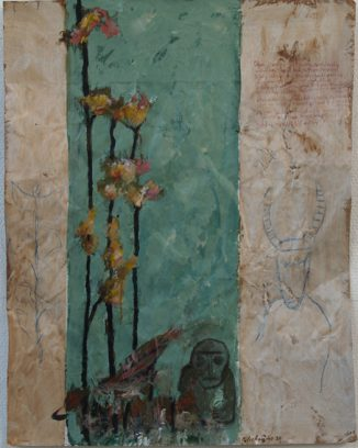 "Uit de serie ""Arabische tuinen no.07""<br />acryl, olie en potlood/pakpapier.<br />69x53 cm. 2020"