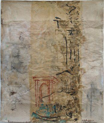 "Uit de serie ""Arabische tuinen no.03""<br />acryl, olie en potlood/pakpapier.<br />82x70 cm. 2020 (particuliere collectie)"