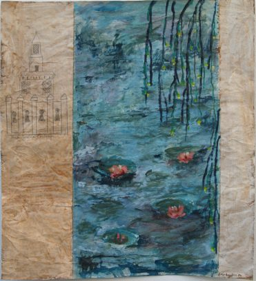 "Uit de serie ""Arabische tuinen no.04""<br />acryl, olie en potlood/pakpapier.<br />82x70 cm. 2020"