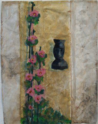 "Uit de serie ""Arabische tuinen no.05""<br />acryl, olie en potlood/pakpapier.<br />69x53,5 cm. 2020"